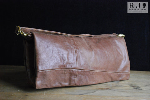 Reclaimed Leather Clutch - Augustus Patched Black Magnetic closure