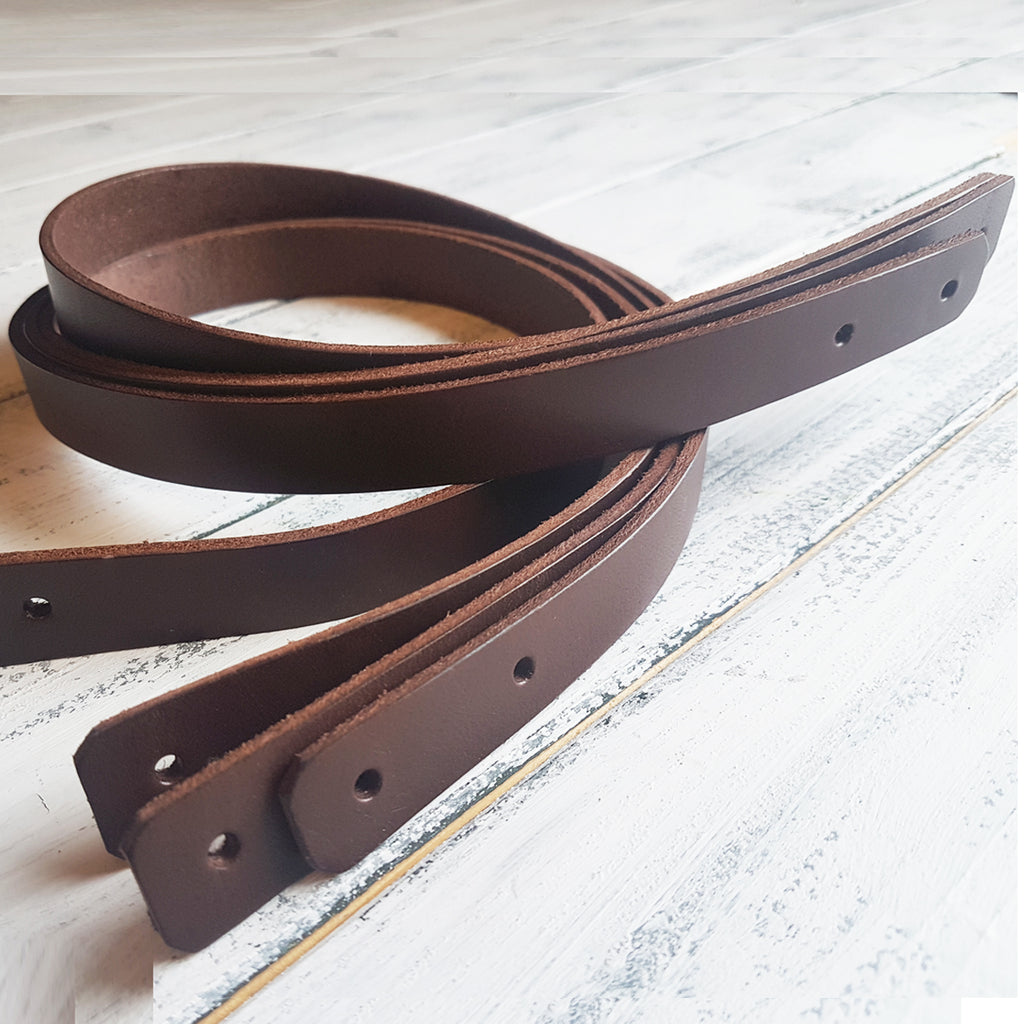 2 Pairs of 4mm Thick Dark Brown Leather Handles - 2cmx 65cm