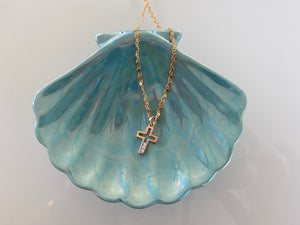 Crystal Cross Ombre Pendant Gold Filled Chain