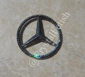 Benz Rear Logo Emblem in Black Diamond Swarovski Crystals