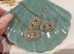 "16"" Crystal Evil Eye Necklace (As seen on Jacklyn Hill)"