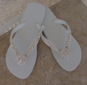 White Bridal Flip Flops bedazzled in Crystal Clear and Crystal AB Swarovski Crystals