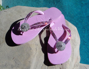 Pink Havaianas in Crystal Clear and Rose Swarovski Crystals