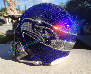 Seattle Seahawks Swarovski Helmet in Cobalt (blue), Crystal Clear, Black Diamond and Peridot for the eyes