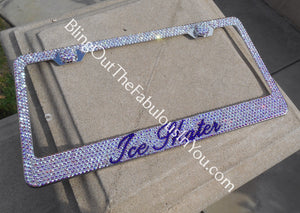 Custom Swarovski Ice Skater License Plate Frame (Color Effects)