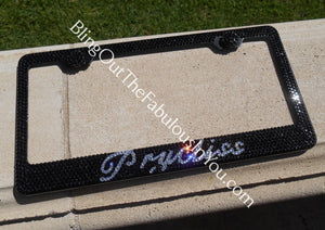 Custom Wording Swarovski License Plate Frame