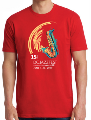 Official 2019 15th Anniversary DCJazzFest Crewneck T-Shirt - Red/Unisex