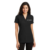 FITTEAM Women's Professional Embroidered Polo.  (White ebroidered with Black thread)