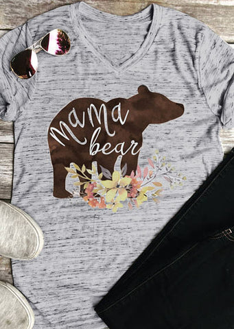 Short Sleeve V-Neck Mama Bear T-Shirt
