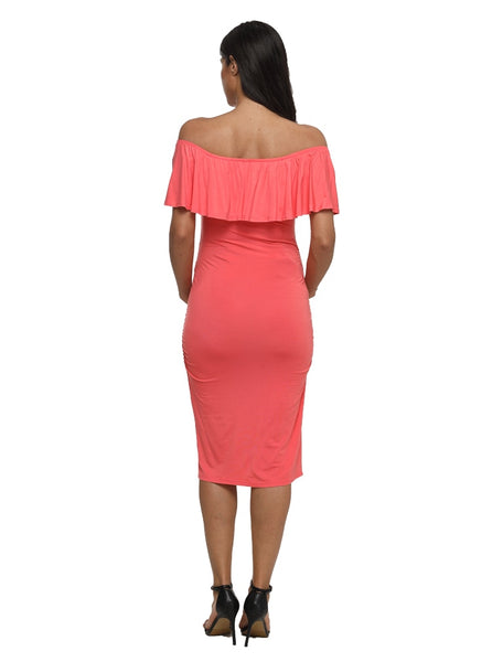 Off Shoulder Fitted Maternity Dress