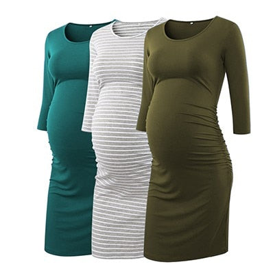 Three Pack 3/4 Sleeve Maternity Dresses
