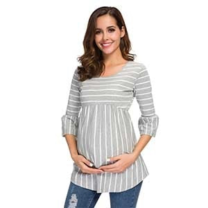 Striped 3/4 Length Sleeve Maternity Top