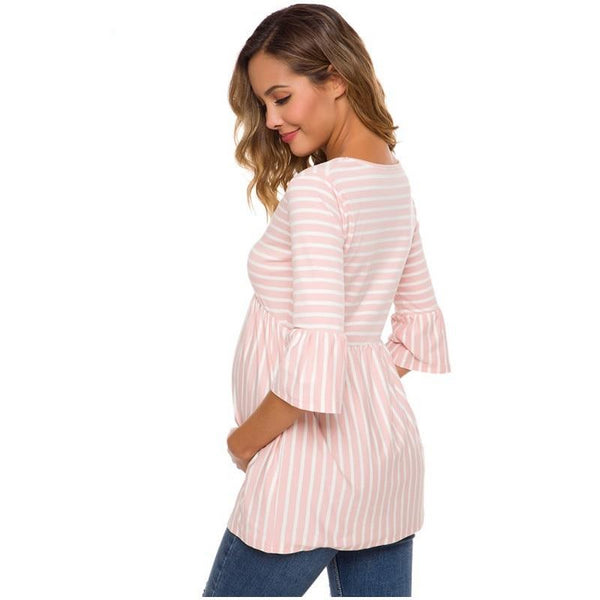 Three Pack Striped 3/4 Length Sleeve Maternity Tops