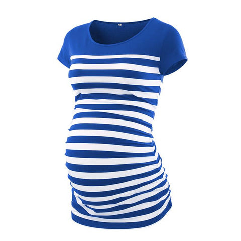 Blue Striped Maternity Tunic Tee