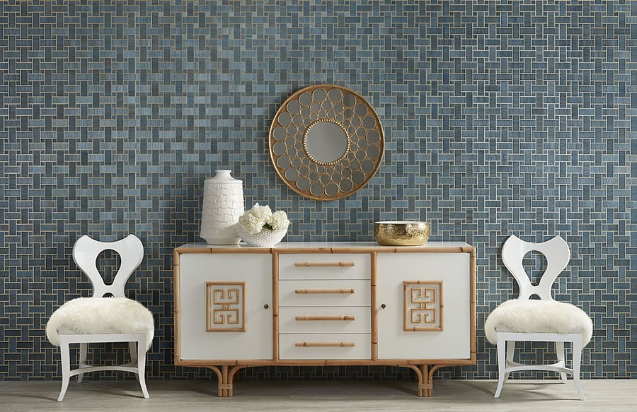 Philip Jeffries Blue Lattice Wall Covering