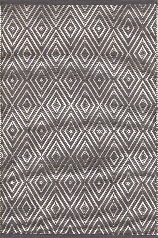 DASH & ALBERT DIAMOND GRAPHITE/IVORY INDOOR/OUTDOOR RUG RDB256-Exeter Paint Stores