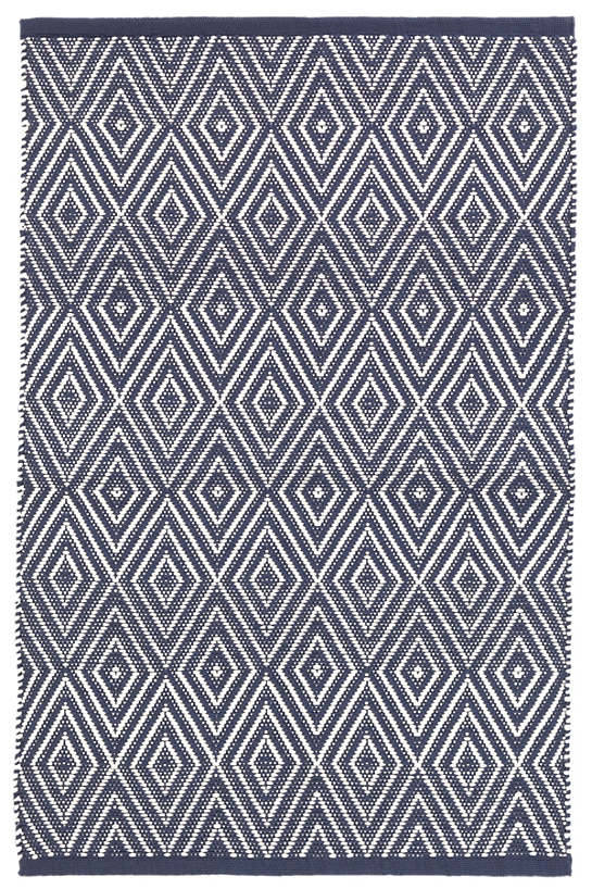 DASH & ALBERT DIAMOND NAVY/IVORY INDOOR/OUTDOOR RUG DA380-Exeter Paint Stores