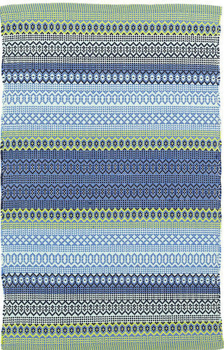 DASH & ALBERT FIESTA STRIPE FRENCH BLUE/GREEN INDOOR/OUTDOOR RUG-Exeter Paint Stores