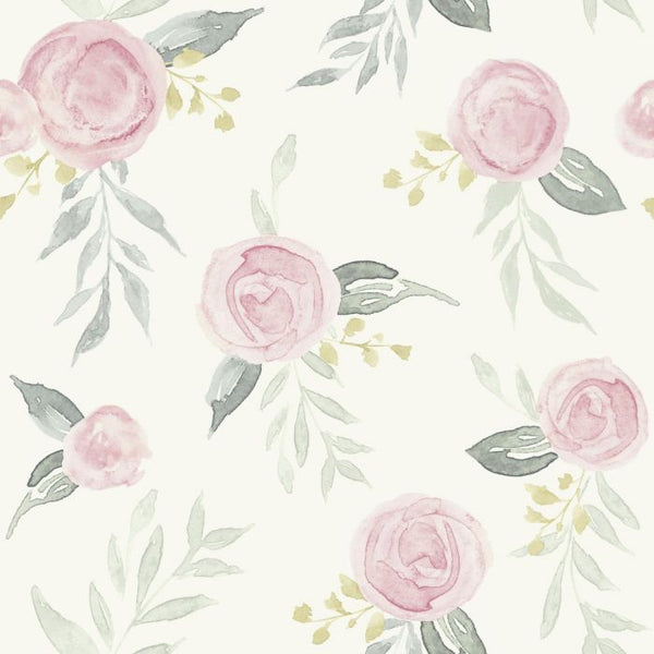 Watercolor Roses Sure Strip Wallpaper MK1125-Exeter Paint Stores