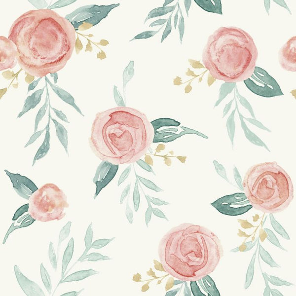 Watercolor Roses Sure Strip Wallpaper MK1126-Exeter Paint Stores