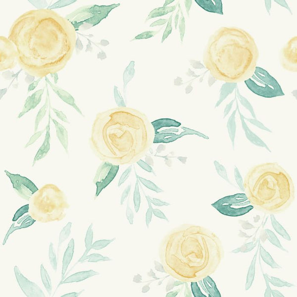 Watercolor Roses Sure Strip Wallpaper MK1127-Exeter Paint Stores