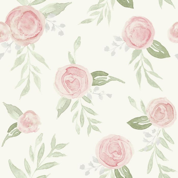 Watercolor Roses Sure Strip Wallpaper MK1128-Exeter Paint Stores