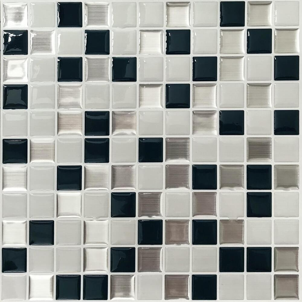 ROOMMATES METALLIC CHECKERBOARD TILE PEEL AND STICK BACKSPLASH TIL4127FLT-Exeter Paint Stores