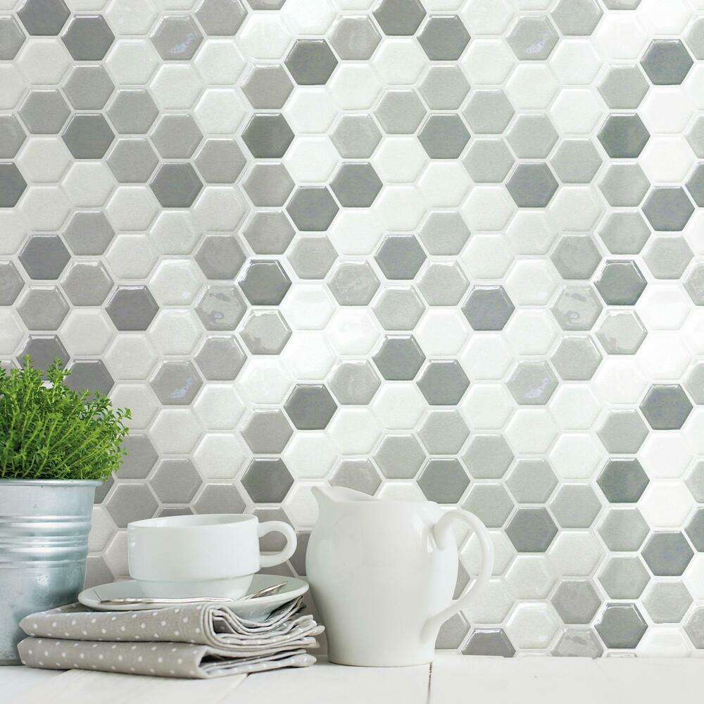 ROOMMATES GRAY HEXAGON TILE PEEL AND STICK BACKSPLASH TIL4278FLT-Exeter Paint Stores