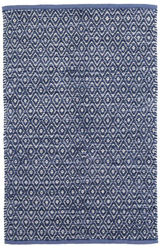 DASH & ALBERT DIAMOND CHENILLE BLUE WOVEN COTTON RUG-Exeter Paint Stores