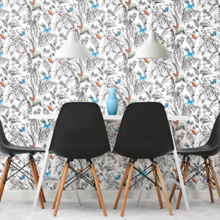 Butterfly Sketch Peel and Stick Wallpaper Roll RMK11822WP-Exeter Paint Stores