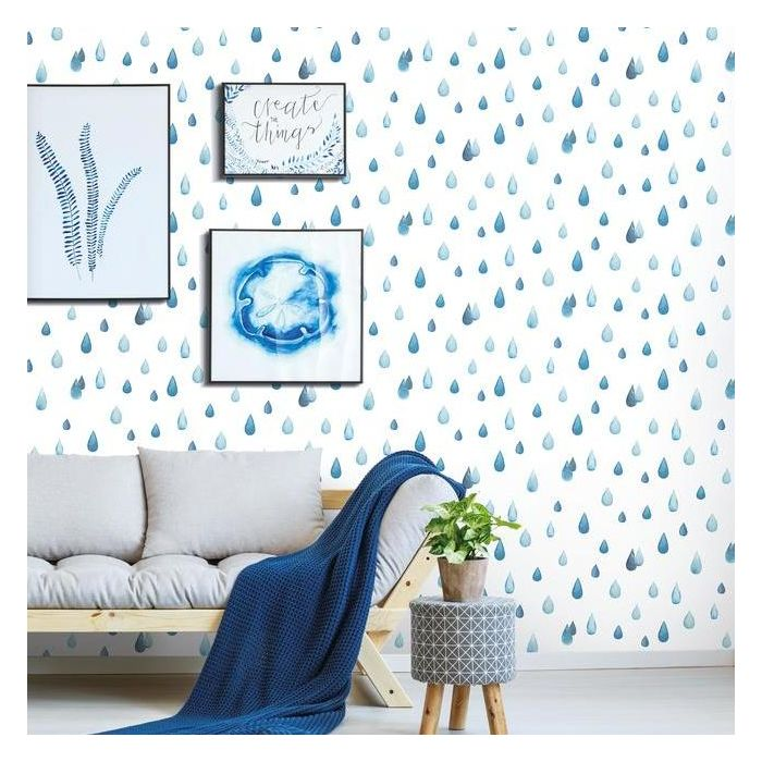Clara Jean Raindrops Peel and Stick Wallpaper Roll RMK11468RL-Exeter Paint Stores