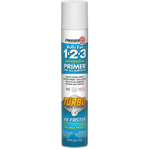 Bulls Eye 1-2-3 26 oz. Turbo White Interior/Exterior Primer Spray-Exeter Paint Stores