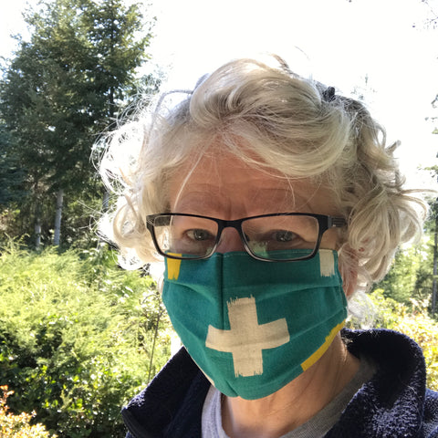 Woman with covid face mask on