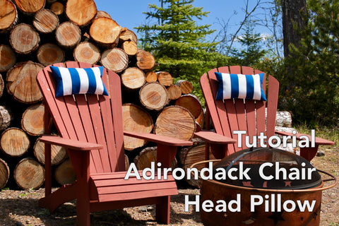 Adirondack Chairs in front of logs with neck pillows and tutorial sign