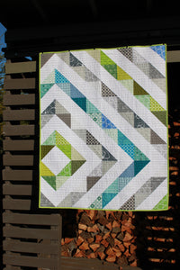 HST Baby Quilt with blue, green and gray