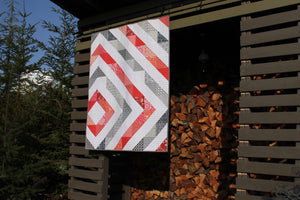 Baby Quilt || Offset Diamond in Coral and Gray