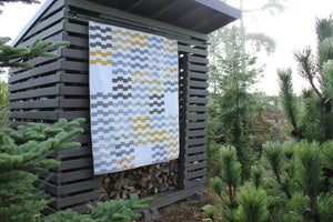 Modern Quilt in Yellow, Gray and White