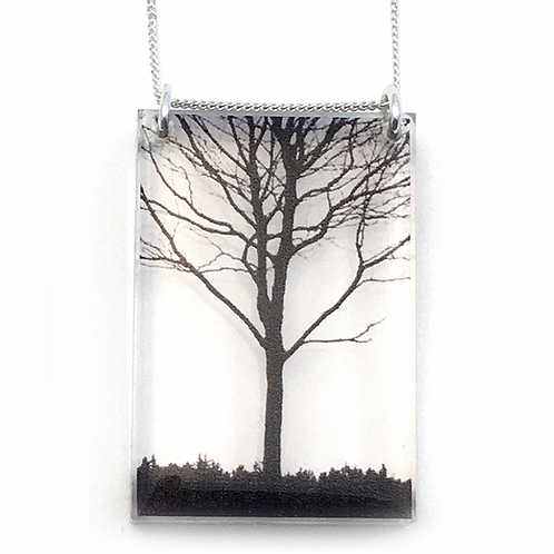 Collier Rectangle Arbre urbain - Black Drop
