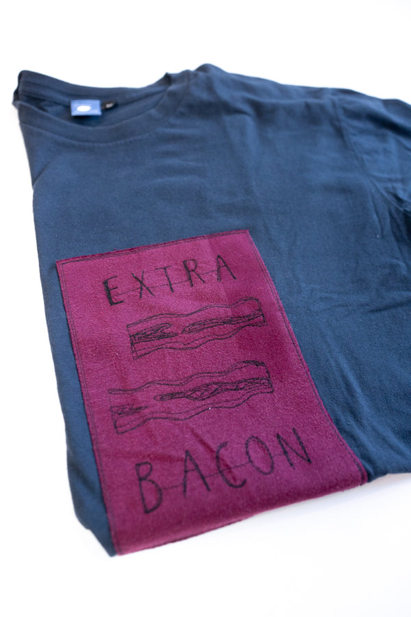T-shirt patch Extra bacon - Marin petit - MM5