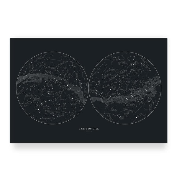 "Affiche carte du ciel | 12"" x 18"" 
