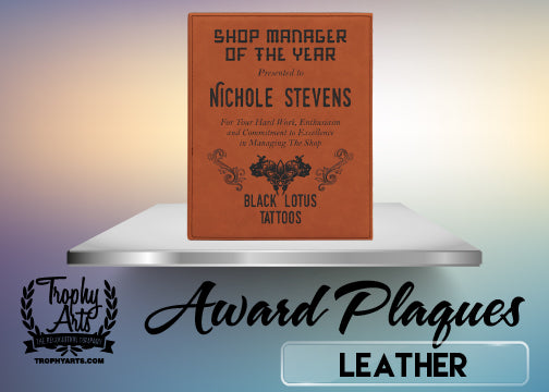 Lasered Leather Plaques