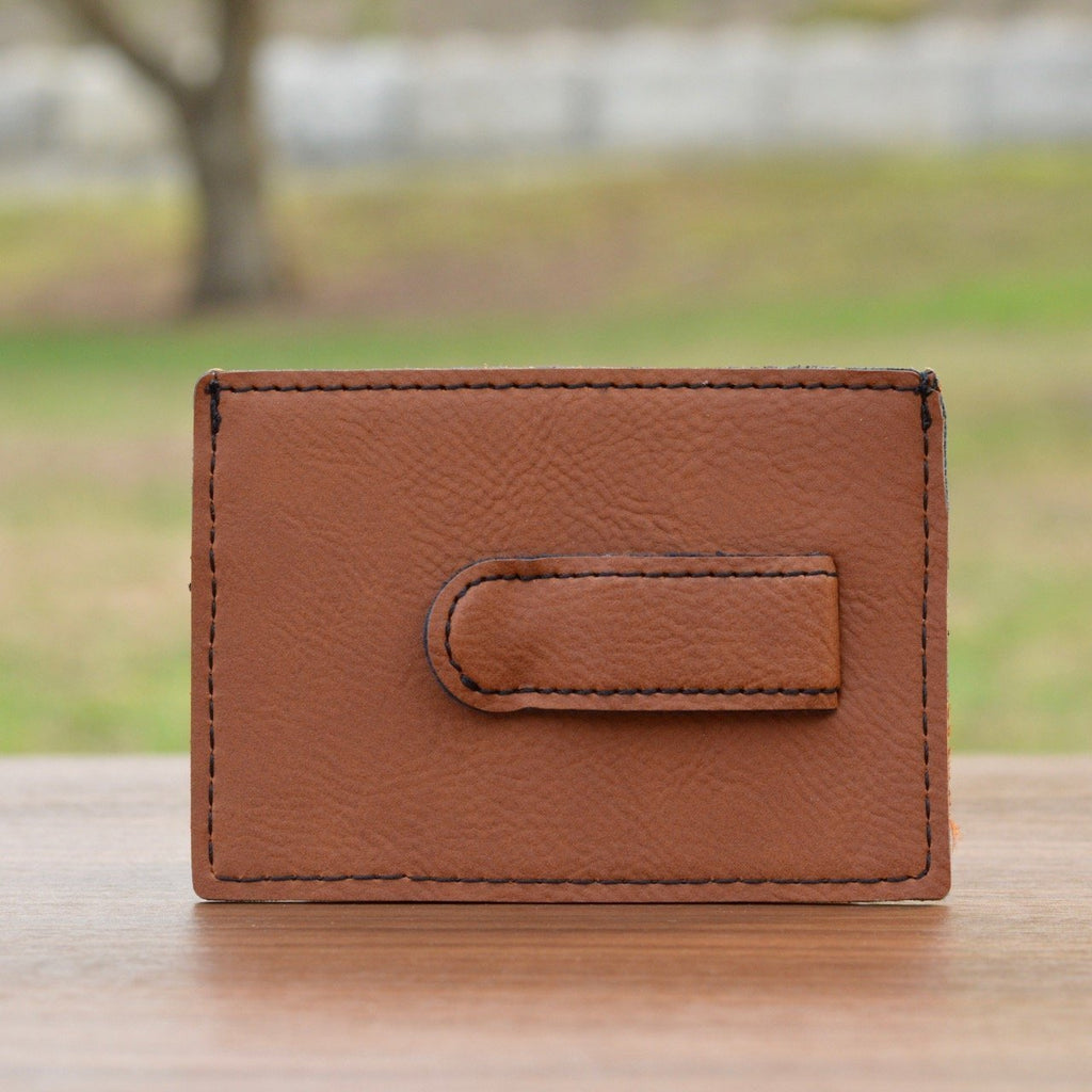 Laser Engraved Leather Wallet with Money Clip
