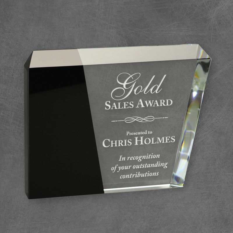 Premium Eclipse Crystal Award with black crystal accent