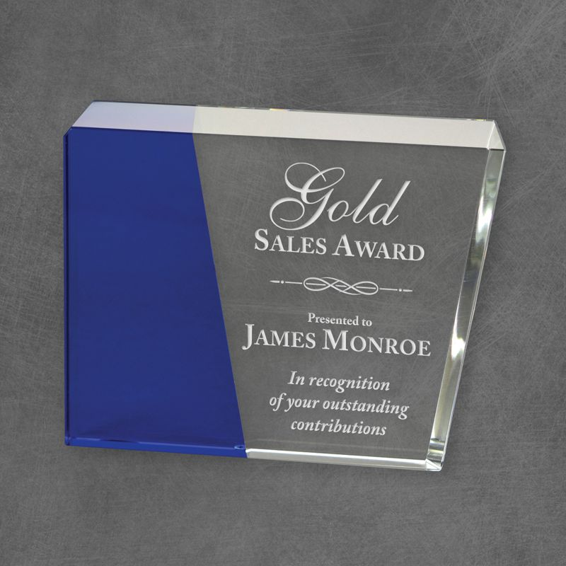 Premium Eclipse Crystal Award with blue crystal accent