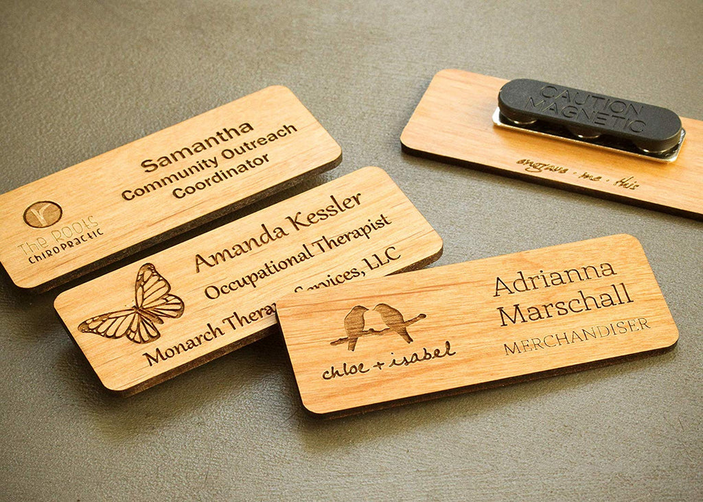 Laser Engraved Wood Name Tag