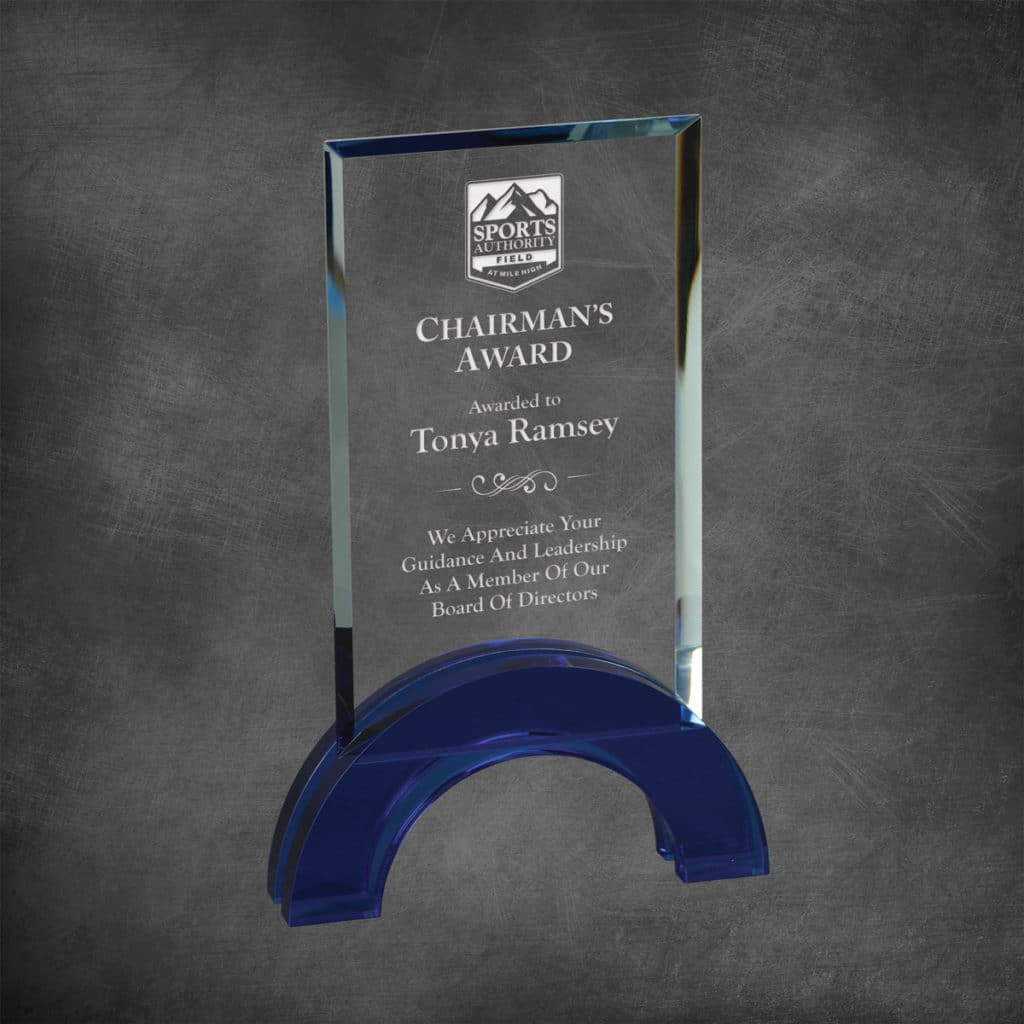 Premium Hampton Crystal Award with blue crystal accent