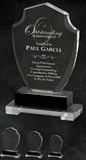 Premium Crystal Shield Award with black crystal accent