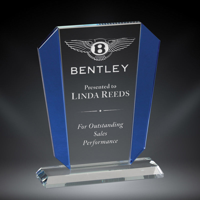 Premium Victory Crystal Award with blue crystal accent