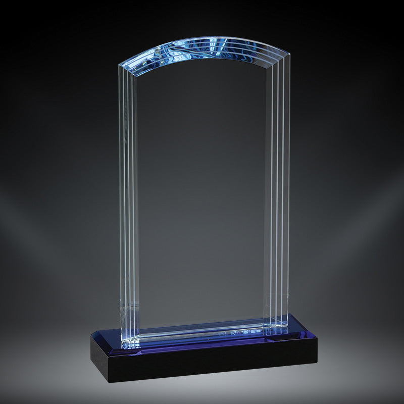Premium Arch Crystal Award with blue crystal accent