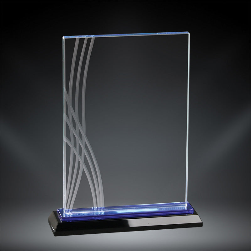 Premium Boca Tablet Crystal Award with blue crystal accent